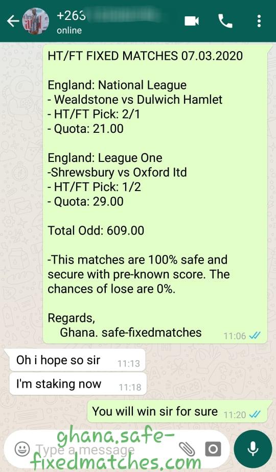 GHANA SPORTS FIXED GAMES